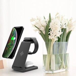 Image 2 - Carregador rápido 10W sem fio 3 em 1 QI, plataforma de carregamento para iPhone, fones da Samsung, Apple Watch 4 3 2 e Airpods Pro