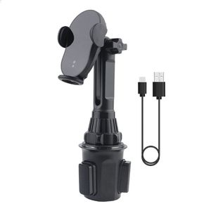 Image 1 - Uniwersalny 15W kubek samochodowy szybka ładowarka bezprzewodowa Qi stojak na podczerwień inteligentny czujnik automatyczne mocowanie uchwyt do montażu na iphone mobilna Ph