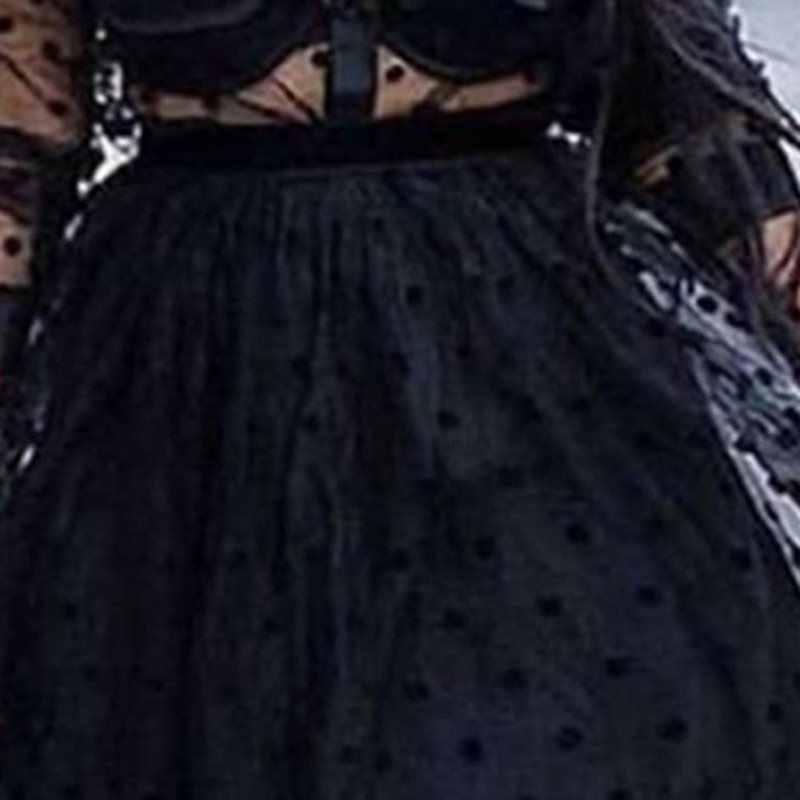 Черное сексуальное женское кружевное платье 2019 Pokla в горошек с длинным рукавом, вечерние платья для вечернего клуба, элегантные женские платья, сетчатые макси платья в африканском стиле