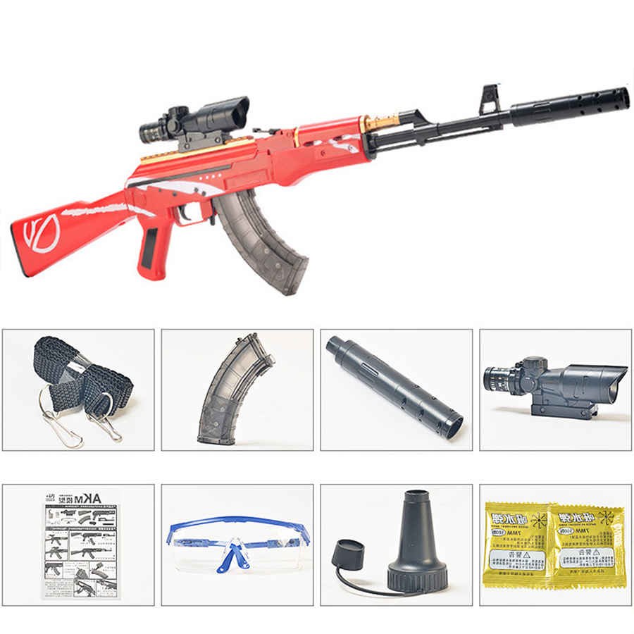 Plastic Toy Gun AKM AK 47 Rifle Manual Shooting Water Bullets Outdoor CS Game Boys Sniper Weapon Children's Gifts