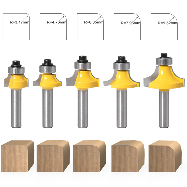 Giá 5pcs 8mm Corner Round Over Router Bit with Bearing Milling Cutter for Wood Woodworking Tool Tungsten Carbide
