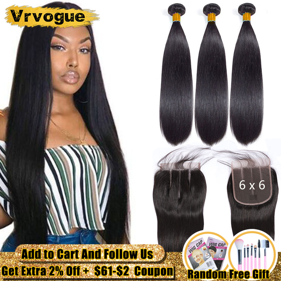 Vrvogue Straight Hair 3 Bundles With Closure 6x6 Swiss Lace Closure With Bundles 8-30 Inch Brazilian Remy Human Hair Extension