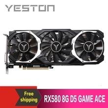 Yeston Radeon RX580 8GB GDDR5 PCI Express x16 3.0 video gaming graphics card external graphics card for desktop