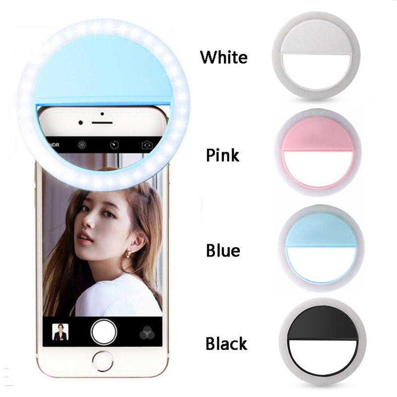 2020 New Phone Selfie Ring Lamp LED Auto Flash 36LEDS Portable Mini Camera Phone Backlight Photo Light For Iphone Samsung Tablet
