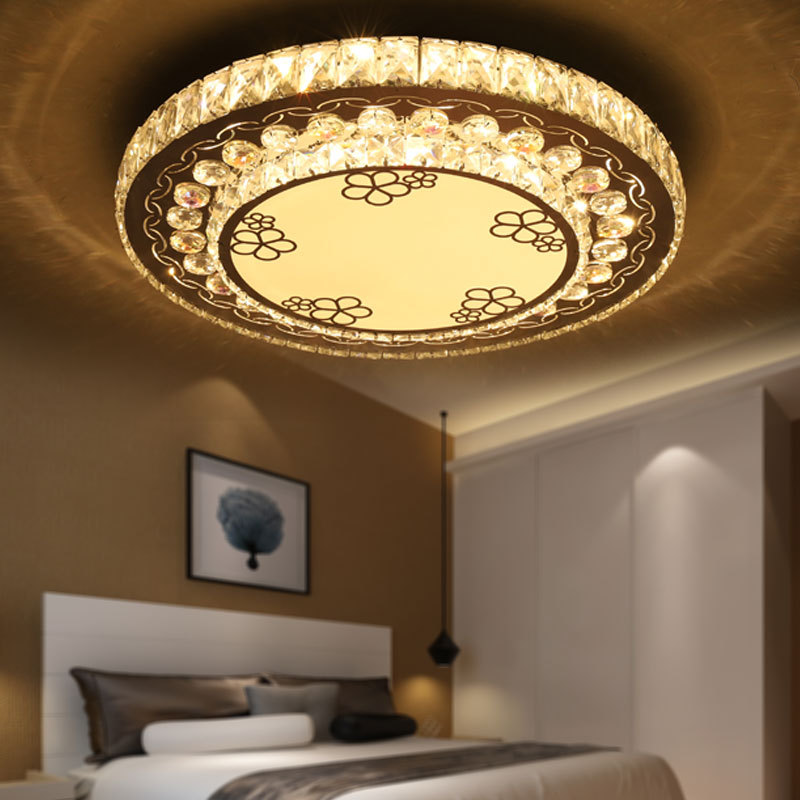 LED Ceiling Lamp Crystal Lamp Minimalist Modern Circle Household Bedroom Room Lights Living Room Lights Library Lighting Lamps