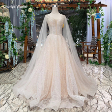 HTL286 Bohemian wedding dress simple sleeve shawl v neck sleeveless backless handmade A line robe de bal