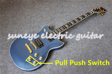 Suneye Gold Hardware SG Electric Guitar YMH Style Metal Blue Guitarra Electrica Pull Push Switch DIY Guitar Kit Custom Available custom shop sg special electric guitar single p90 pickup sg guitar