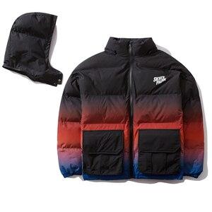 Image 4 - Aelfric Eden Hip Hop Gradient Removable Mens Hooded Parkas Casual Warm Padded Jacket Coats 2019 Harajuku Windbreaker Streetwear