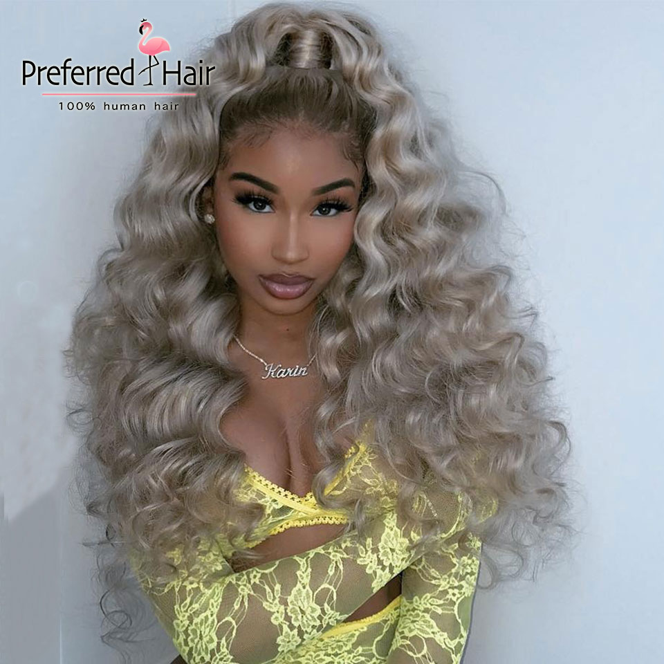 Preferred High Density Ash Blonde Curly Human Hair Wig Pre Plucked Remy Hair Ombre Lace Front Human Hair Wigs For Black Women