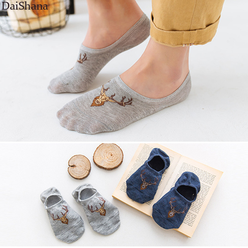 5 Pairs Breathable Sports Men Socks Comfortable Cartoon Deer Male Low Cut Ankle Sock Boy Casual Slippers Solid Color Boat Socks