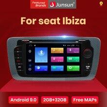 Junsun Odtwarzacz DVD i radio dla samochodów Seat Ibiza, android 9.0, Seat Ibiza 6j, 2009, 2010, 2012, 2013, nawigacja GPS, 2 Din, ekran, audio, player multimedialny