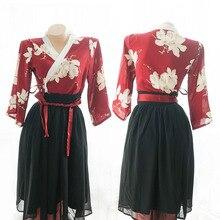 Японский Стиль кимоно; Сексуальное белье милый игривый ролевые Классическая Униформа Комплект с расклешенными рукавами принт Высокая Талия Длинные Hanfu платье