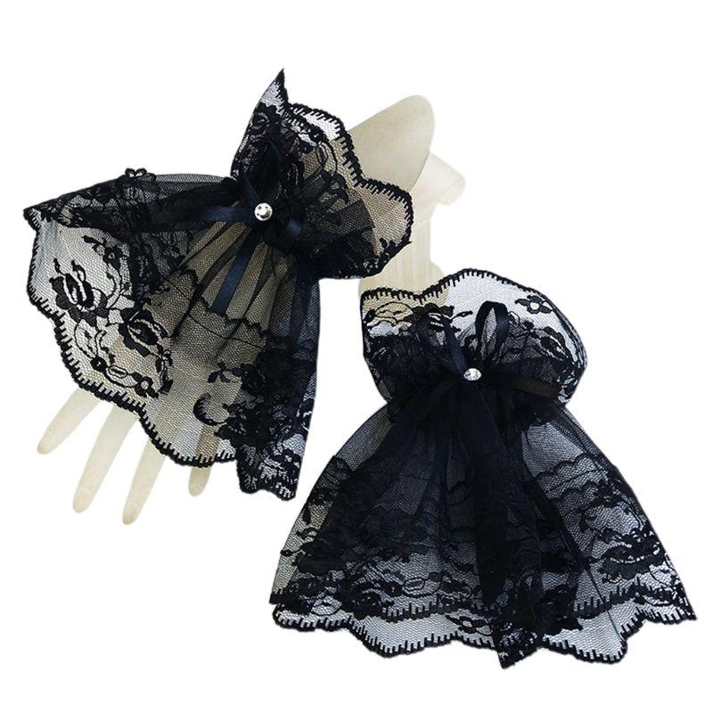 Women Black Lace Wrist Cuffs Bracelets  Rhinestone Bow Fingerless Gloves