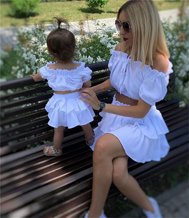 CANIS Casual Toddler Newborn Baby Girl Cotton Short Tops Shirt +Skirts Ruffles Outfit Solid Off Shoulder Clothes Set 2PCS