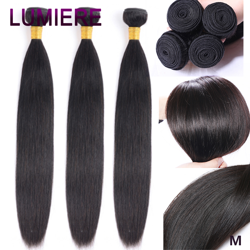 Lumiere Hair Peruvian Hair Weave Bundles Straight Hair Bundles Human Hair Extension Bundles Natural Color Non-Remy Free Shipping