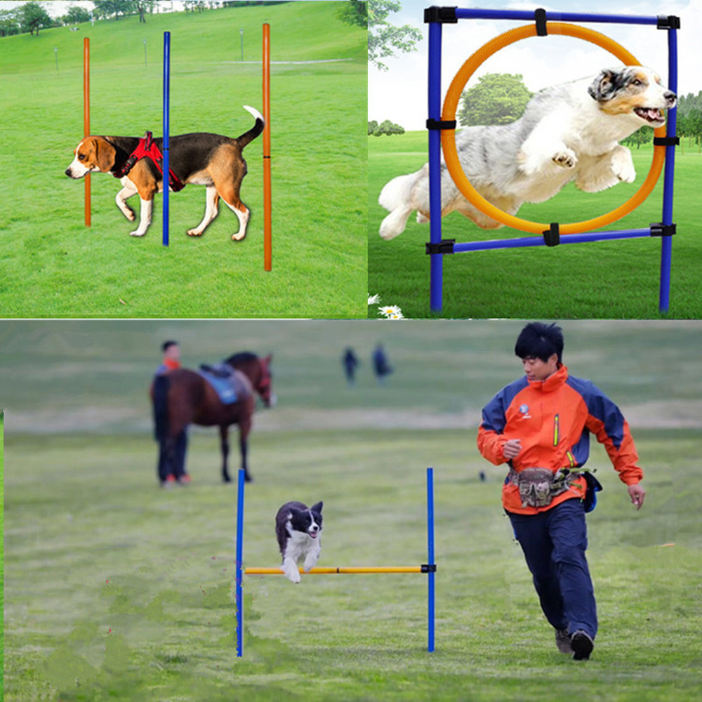Pet Dog Jumping Circle Winding Pile Jump Hurdle Sports Training Pole Dogs Activity Agility Exercise Outdoor Training Equipment