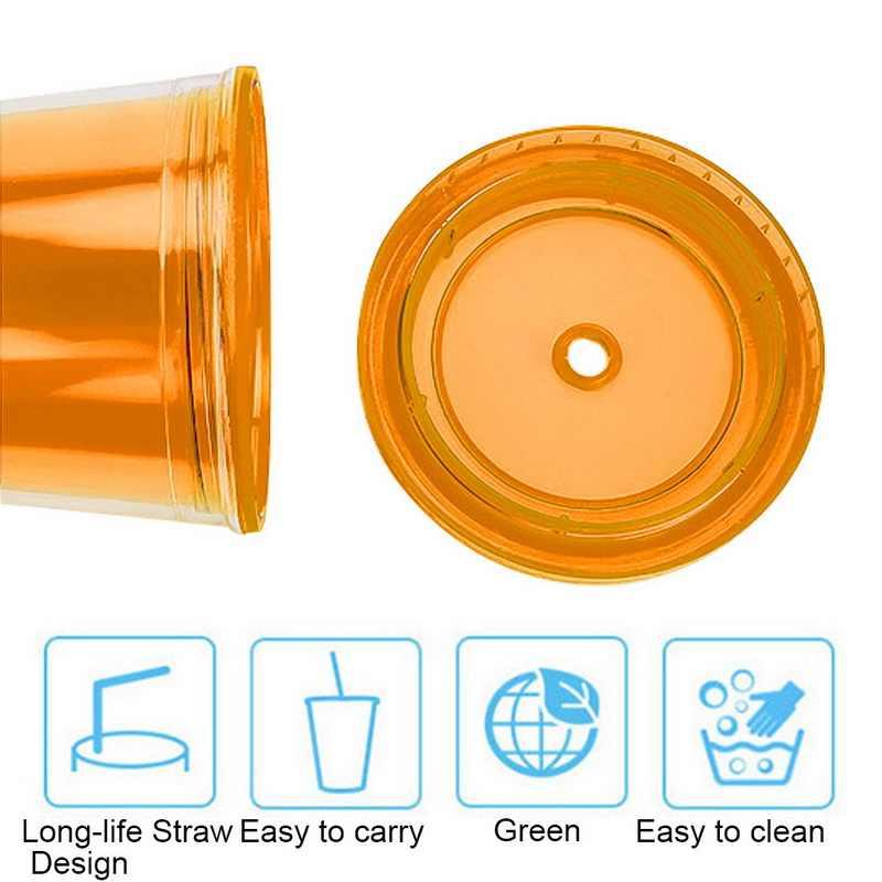 500 ミリリットルとトラベルマグわら再利用可能なスムージーマシンプラスチックアイスタンブラー二重壁アイスコールドドリンクコーヒージュース茶カップ