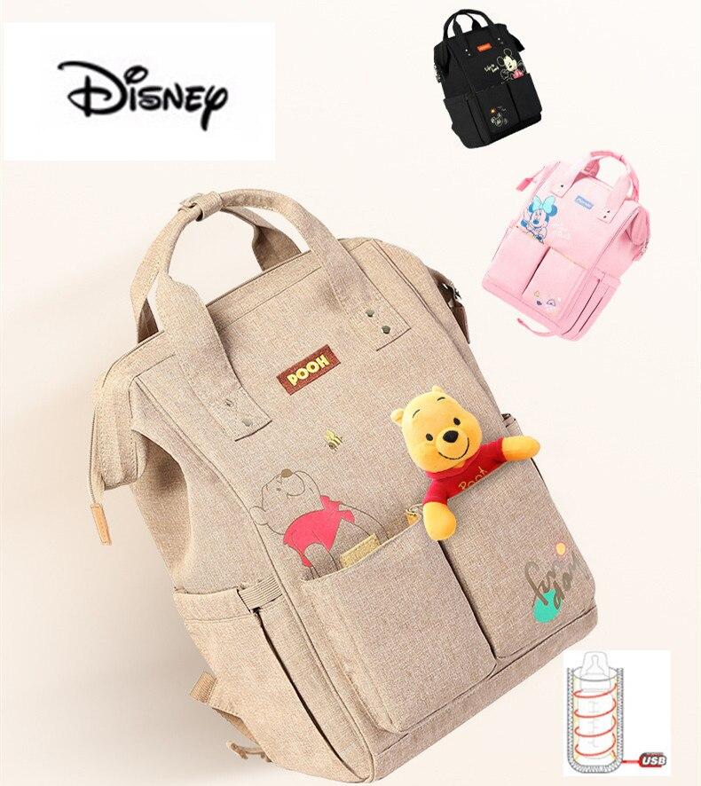 2019 Disney Diaper Bag Backpack USB Bottle Insulation Bags Minnie Mickey Big Capacity Travel Oxford Feeding Baby Mummy Handbag