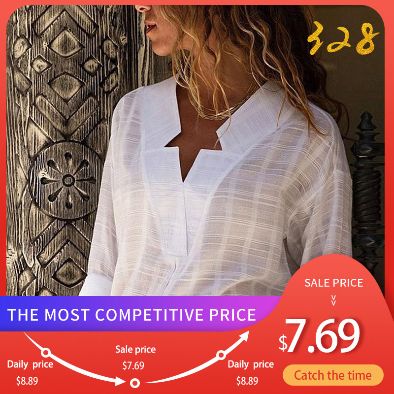 Women's White V-neck Long Sleeve Shirt Top Plus Size 5XL Office Lady Womens Tops And Blouses Black 2020 Spring Star Shirts Women