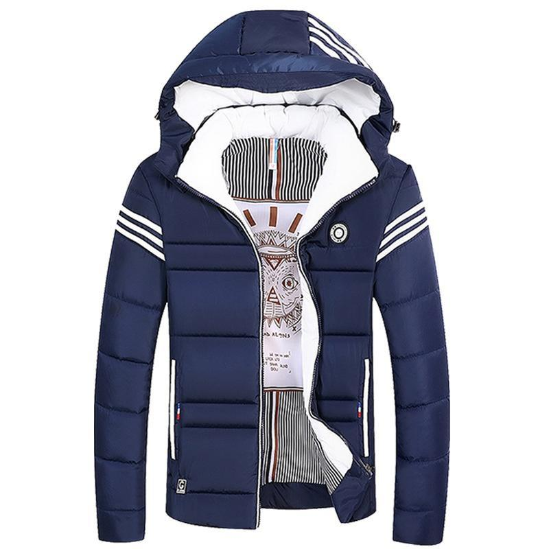 2019 Men's Winter Thick Short Coat Youth Warm Cotton Jacket Single-breasted Casual Thick Warm Hooded Jacket