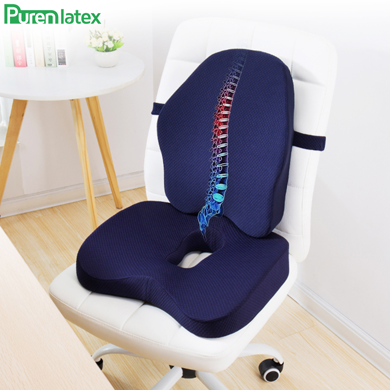 Memory Foam 2 Pcs Orthopedic Pillow Set Office Chair Cushion Coccyx Pad Car Seat Mats For Hemorrhoid Vertebra Spine Protect