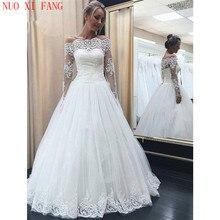цена на Elegant Boat Neck Wedding Dresses Long Sleeves A Line robe de mariee Floor Length Bridal Dress Lace Appliques Vestidos De Noiva