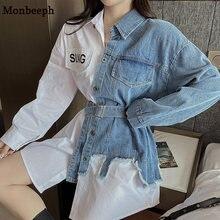 Monbeef mulheres denim e camisa splice vestido único breasted de cintura alta do sexo feminino vestidos jean branco e azul vestido demin