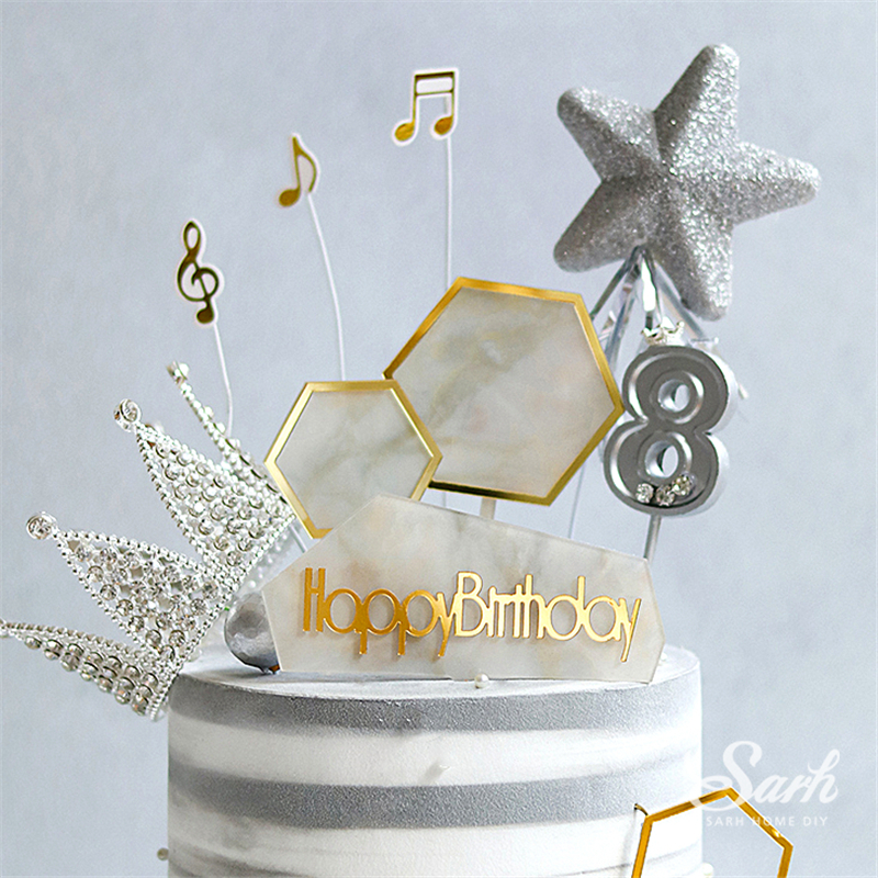 Superb Marble Blank Cake Topper Hexagon White Black Happy Birthday Party Funny Birthday Cards Online Elaedamsfinfo