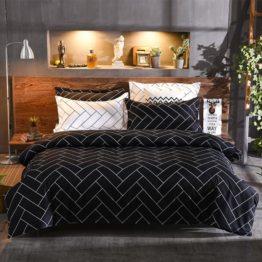claroom geometric Bedding Sets black bed linens simple Duvet Cover set Queen king size AS84#