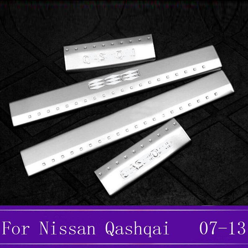 Acier inoxydable éraflure plaque seuil de porte bienvenue pédale protecteur autocollants accessoires pour Nissan Qashqai J10 2007 2008 2009-2013 fa