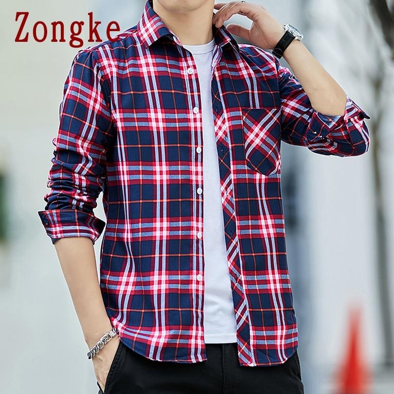Zongke 2020 New Spring Casual Plaid Shirt Men Slim Fit Button Male Long Sleeve Shirts Men Fashion Brand Tops Plus Size M-4XL
