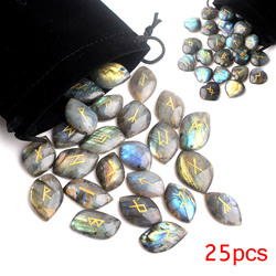 25Pcs High Quality Natural Heart Labradorite Crystal Runes Stones Divination Crystals Fortune-telling Reiki Healing Gift Decor