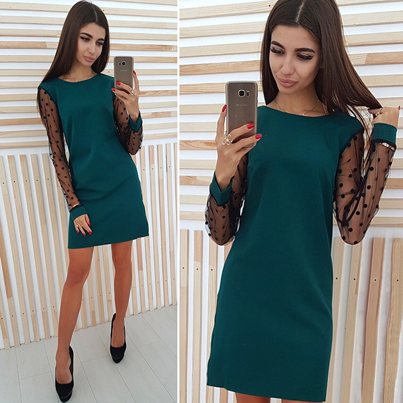 Autumn Hot Sale Fashion Elegant Ladies Polka Dot Mesh Patchwork Dress Female O-Neck Long Sleeve Sexy Dress Plus Size