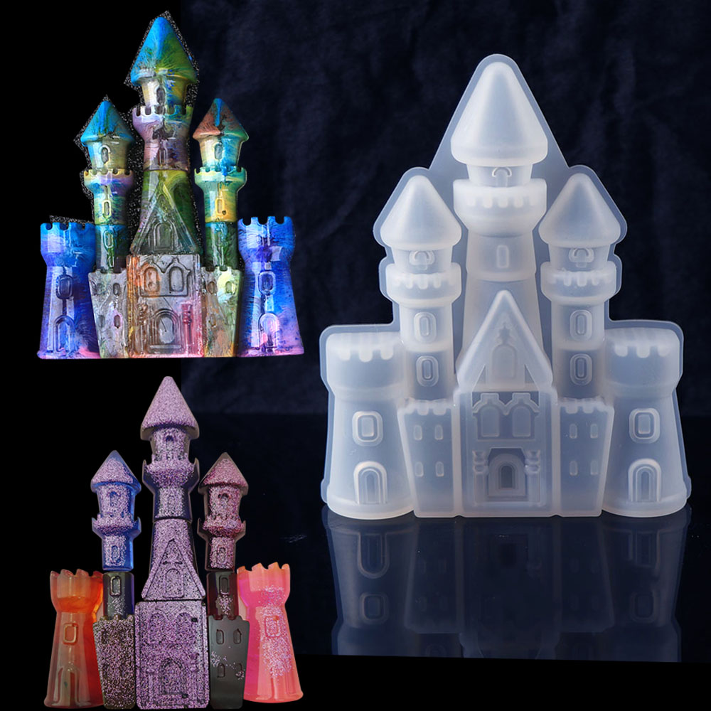Fashion Cheaper DIY Silicone Christmas House Castle Mold UV Epoxy Resin Jewelry Making Tool Set