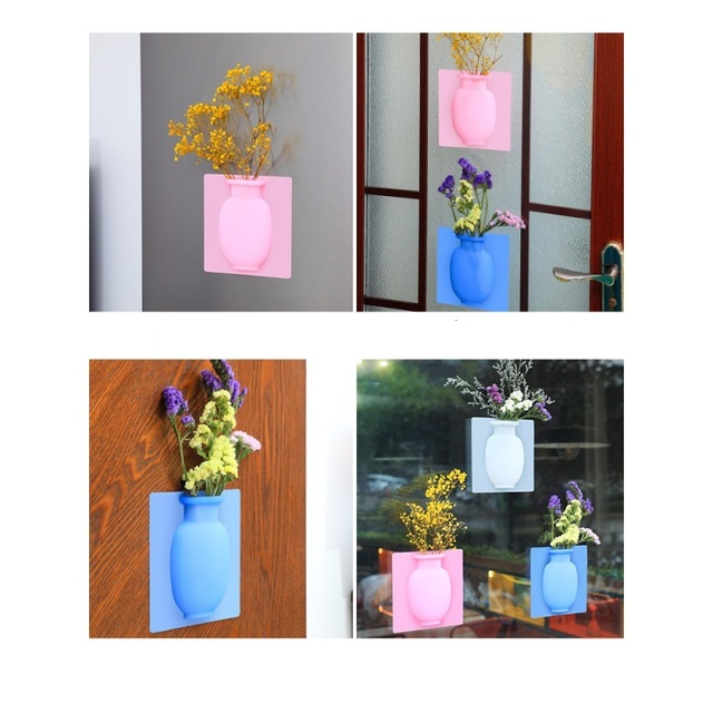 Silicone Sticky Vase Easy Removable Wall And Fridge Magic Flower Plant Vases DIY Home Decoration Glass Mirror Decor 4