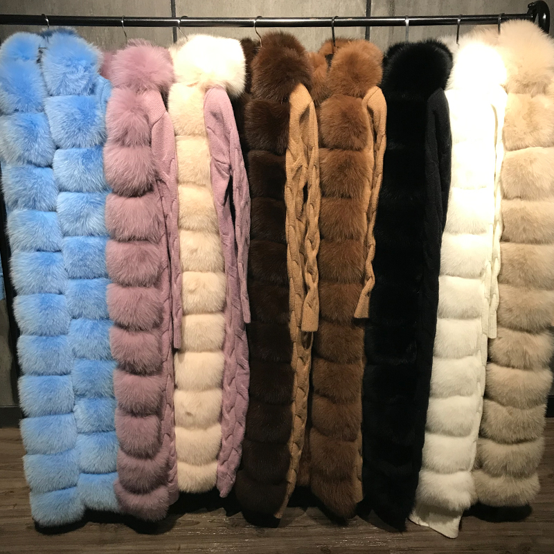 Image 2 - Меховой свитер, свитер из лисьего меха, длинный кардиган из лисьего меха длиной 120 125 смШубы и дубленки    АлиЭкспресс