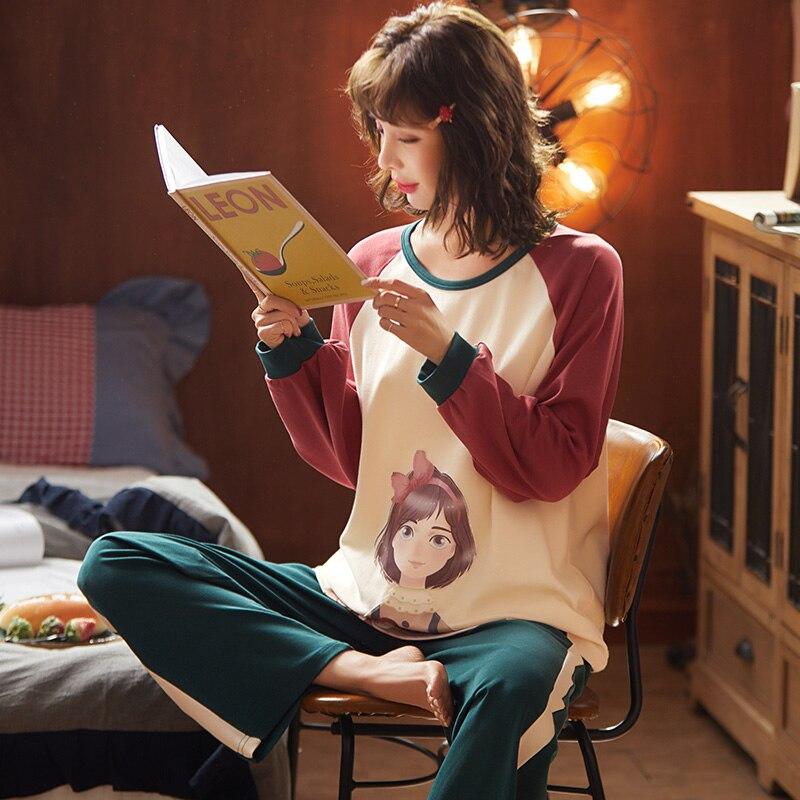 Spring Cartoon Sweet Lady Cotton Pajamas Women Full Sleeve Winter Household Sets