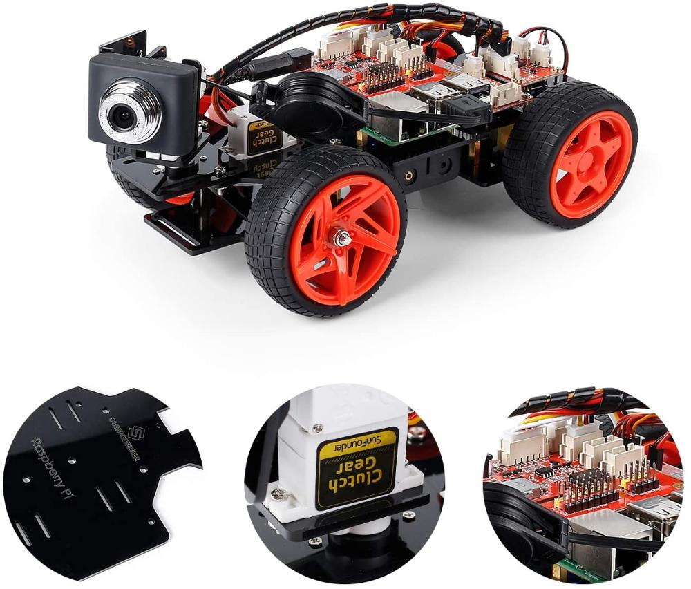 SunFounder Raspberry Pi Smart Video Robot Car Kit, Graphical Visual Programming, Remote Control Electronic Toy With Camera