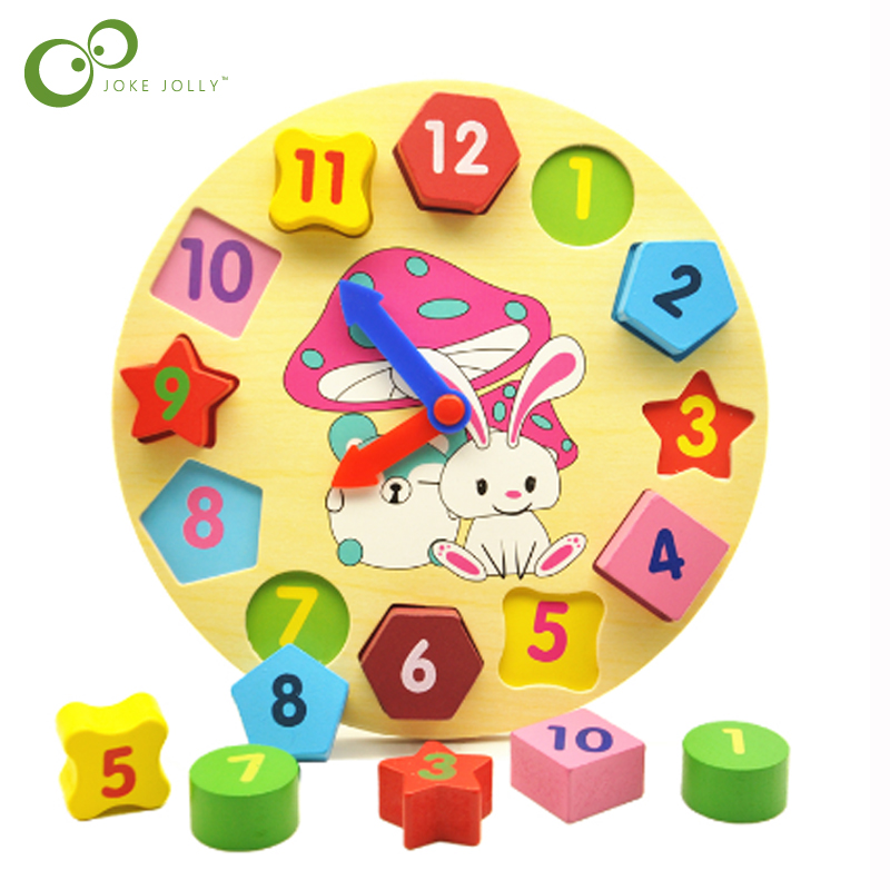 Baby 12 Number Wooden Toys Puzzle Colorful Digital Geometry Clock Educational Toys For Children Kids Wood Toy Gifts GYH