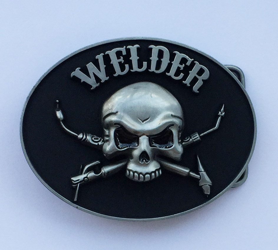 Newest Desgin Oval Welder Trades Tradesman Skull Belt Buckle Suitable For 4cm Wideth Belt With Continous Stock