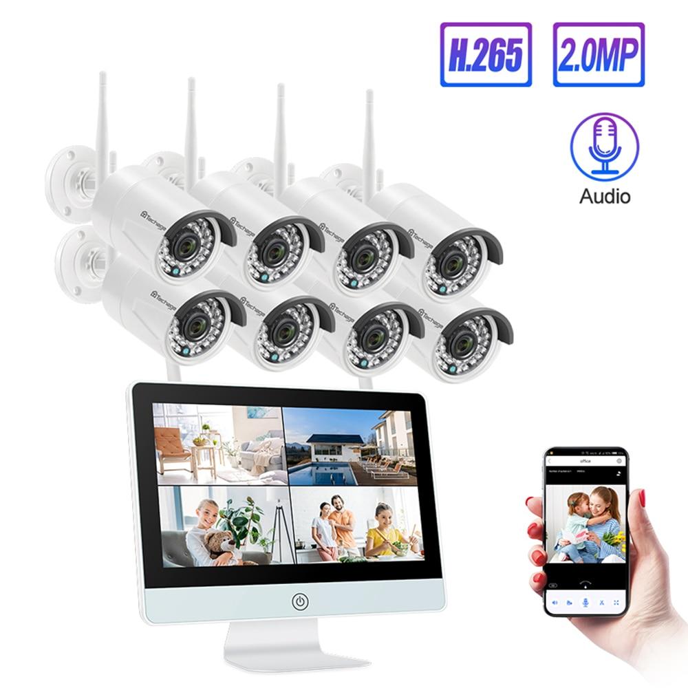 Techage 8CH 1080P Drahtlose CCTV Kamera 12 zoll LCD Monitor NVR System 2MP WIFI One Way Audio Sound Sicherheit überwachung Kit
