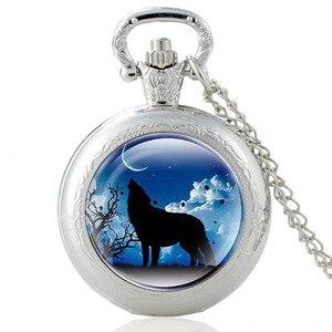 Уникальные очаровательные кварцевые часы с изображением волка и кабошона, винтажные карманные часы для мужчин и женщин, ожерелье с подвеск...