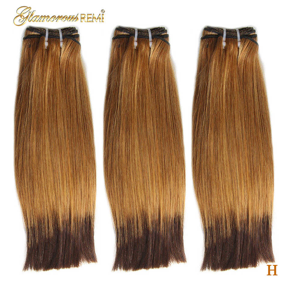 Brazilian Rmey Hair Funmi Double Drawn Straight Human Hair Bundles Weave Extensions 2 Tone Ombre #27 #4 Fumi Hair High Ratio