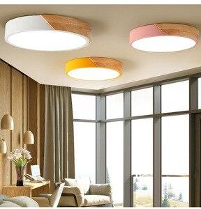 Светодиодный Круглый Простой потолочный светильник из дерева в скандинавском стиле, лампы «Макарон» для дома, гостиной, спальни, ресторана,...