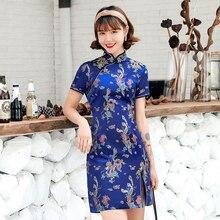 Dresses Cheongsam-Dress Qipao Chinese-Style Dragon Printed Sexy Women New Slim Mini Formal