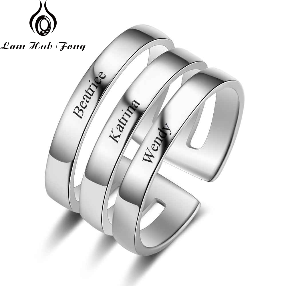 Personalized 3 Name Ring Engraved Name Stainless Steel Stackable Ring Custom Anniversary Jewelry for Women Men (Lam Hub Fong)