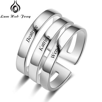 Personalized 3 Name Ring Engraved Stainless Steel Stackable Custom Anniversary Jewelry for Women Men (Lam Hub Fong)