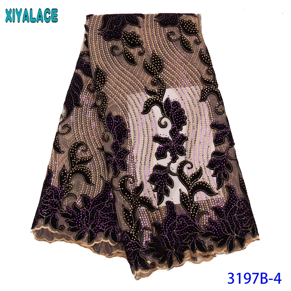African Lace Fabric 2019 High Quality Lace New French Velvet Laces Sequins Net Fabric Lace With Stones For Dresses KS3197B