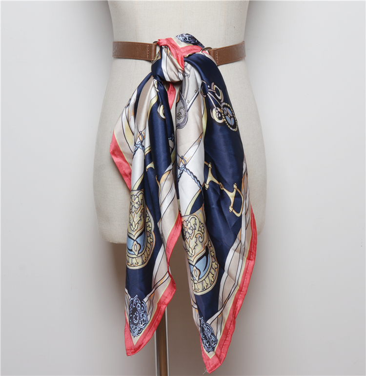 Women Adjust Silk Scarf Long Belt Print Spliced Belt Woman Waist Fashion Pu Leather Cummerbunds Autumn Winter 2019 New SW124