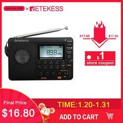 RETEKESS V115 راديو FM AM SW راديو محمول جيب مع USB MP3 مسجل رقمي دعم مايكرو SD TF بطاقة النوم الموقت هدية
